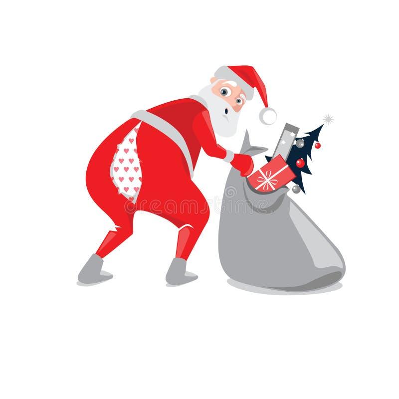 Roliga Santa Claus med bristning av flåsanden stock illustrationer