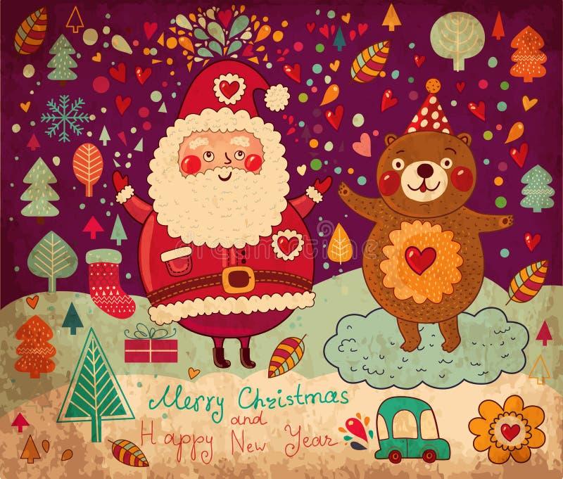 Roliga Santa Claus och hans vän vektor illustrationer