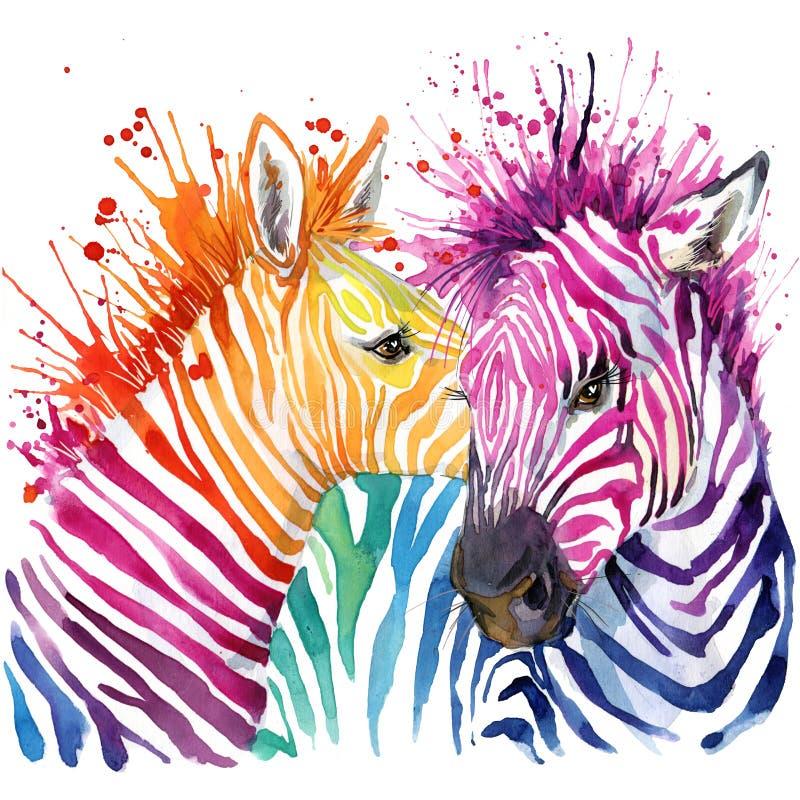 Roliga sebraT-tröjadiagram, regnbågesebraillustration stock illustrationer
