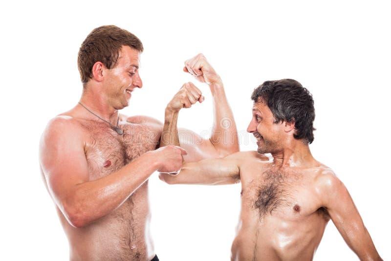 Roliga shirtless män jämför muskler arkivbilder