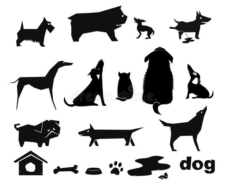 roliga silhouettes för hund stock illustrationer