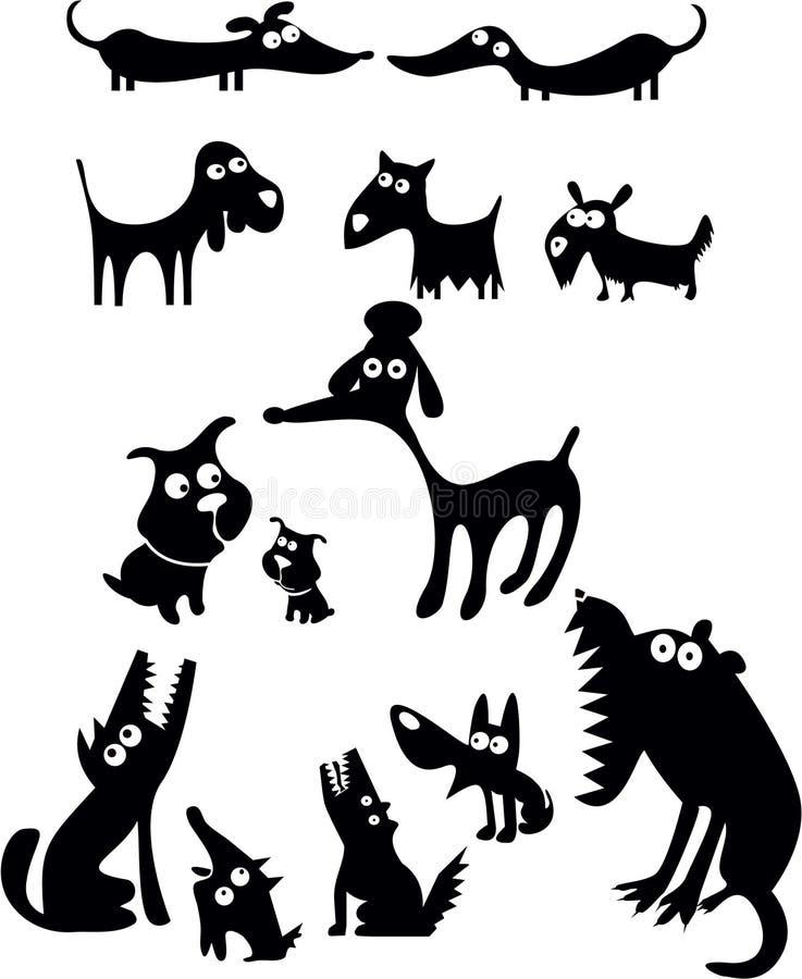 roliga silhouettes för hund royaltyfri illustrationer
