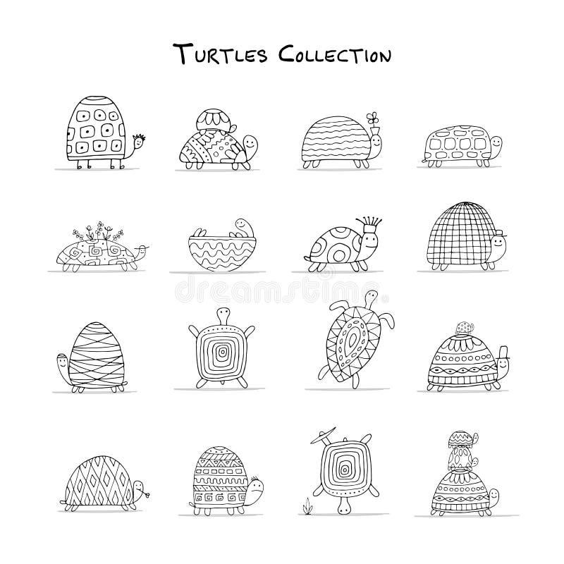 Roliga sköldpaddor ställer in, skissar för din design vektor illustrationer