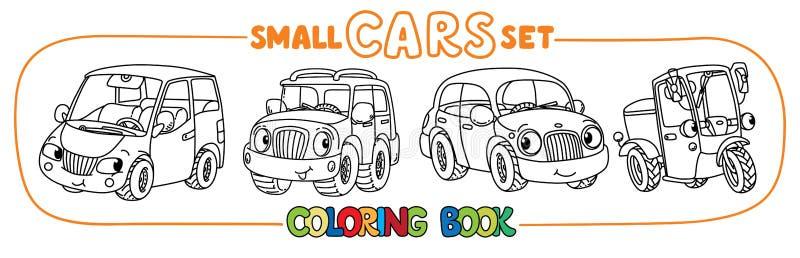Roliga små stadsbilar med ögon Uppsättning för färgläggningbok vektor illustrationer