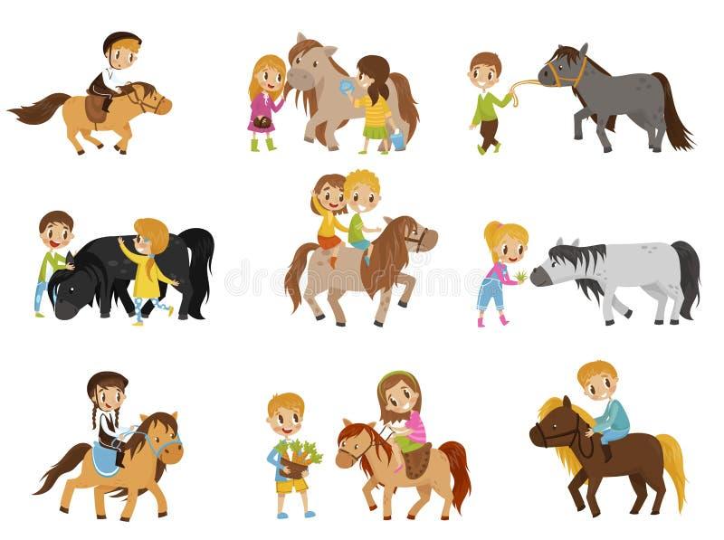 Roliga små ungar som rider ponnyer och tar omsorg av deras hästar, ställde in, den rid- sporten, vektorillustrationer stock illustrationer