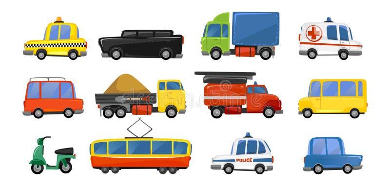 Roliga stadstransportobjekt i moderiktig tecknad filmstil Vektorkollektivtrafiksamling taxi för den ambulansbrand-motor polisen royaltyfri illustrationer