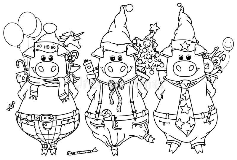 Roliga svin för vektor med gåvor royaltyfri illustrationer
