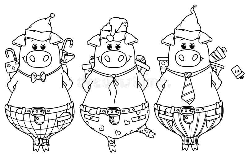 Roliga svin för vektor med gåvor stock illustrationer