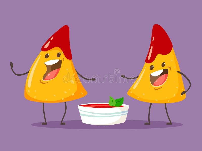 Roliga teckenNachos med tomatsalsas?s Trevlig mexikansk mat ocks? vektor f?r coreldrawillustration vektor illustrationer