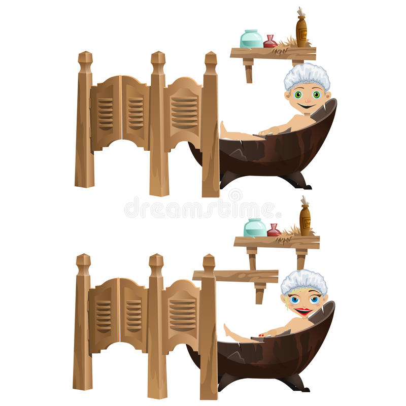 Roliga tecknad filmflicka- och pojkelögner i badkar royaltyfri illustrationer