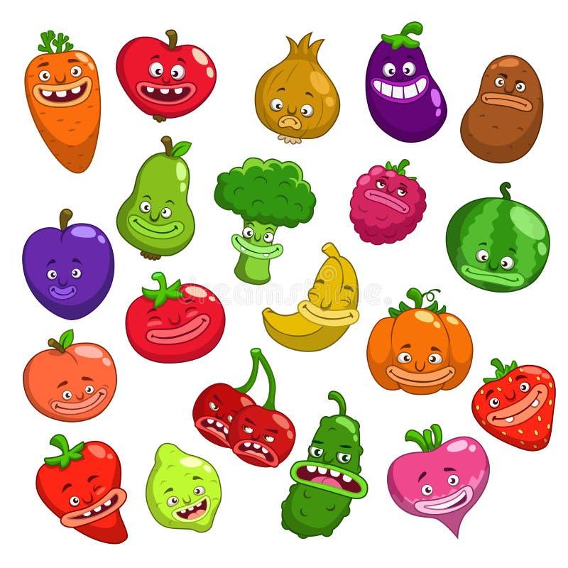 Roliga tecknad filmfrukt- och grönsaktecken royaltyfri illustrationer