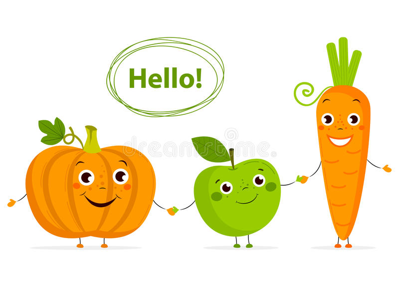 Roliga tecknad filmfrukter och grönsaker med ögon i plan stil stock illustrationer