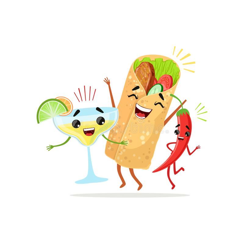Roliga tecknad filmtecken av röd peppar, coctailen och burritoen som har gyckel tillsammans Mat- och drinkvektor i plan design royaltyfri illustrationer