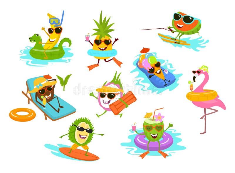 Roliga tropiska frukter för sommartid, flamingo, glasstecknad filmtecken som kyler på strandpölen stock illustrationer