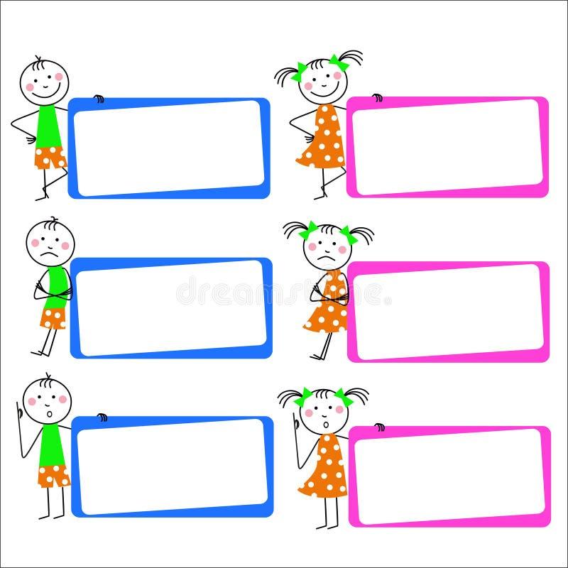 roliga ungar stock illustrationer