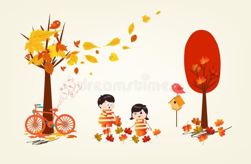 Roliga ungar för Hello höst av en skog i höst med att falla för sidor stock illustrationer