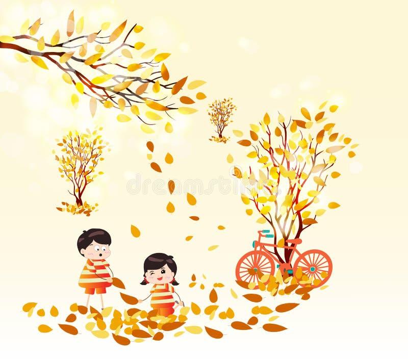 Roliga ungar för Hello höst av en skog i höst med att falla för sidor vektor illustrationer