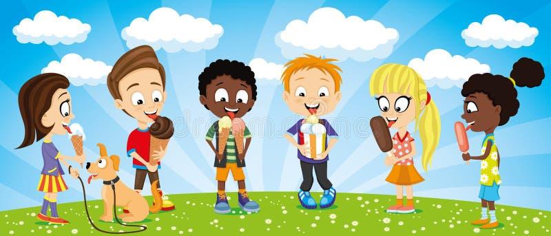 Roliga ungar för sommartid med glass i deras händer stock illustrationer