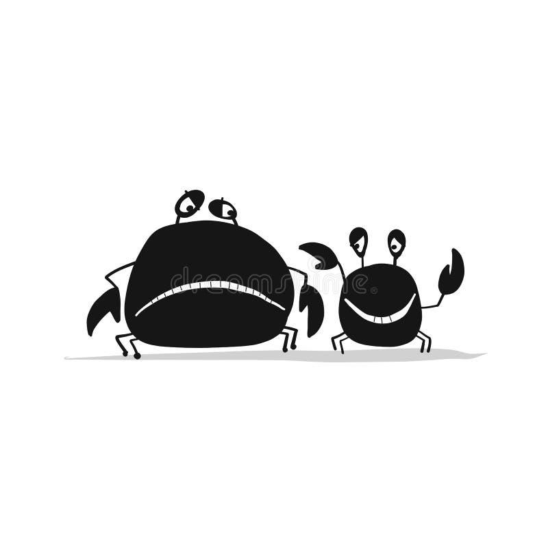 Roliga vänkrabbor, svart kontur för din design stock illustrationer