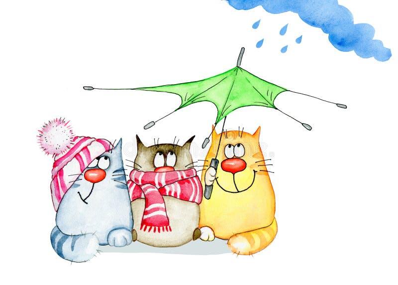 Roliga vattenfärgkatter med paraplyet vektor illustrationer
