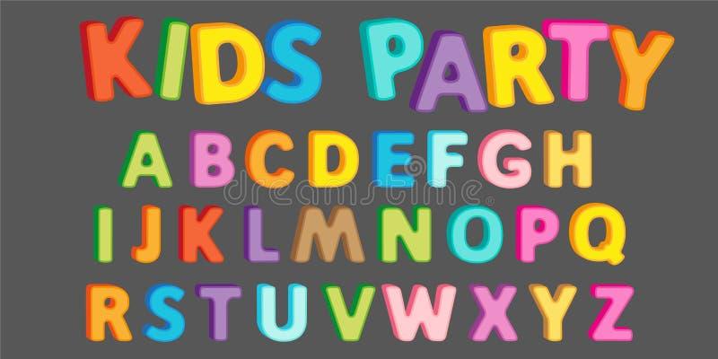 Roligt alfabet som märker text med effekt 3d för titeldesign royaltyfri illustrationer