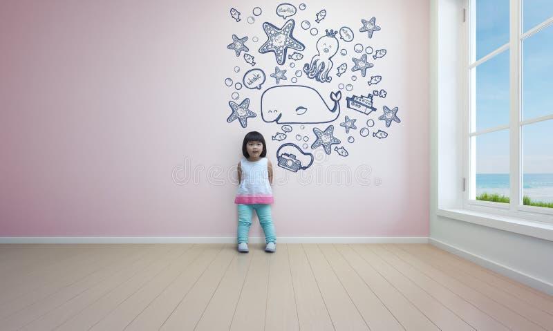 Roligt asiatiskt barn som spelar i rosa rum av strandhuset vektor illustrationer