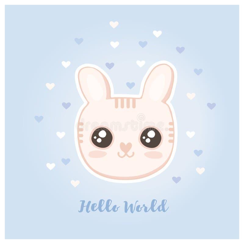 Roligt behandla som ett barn Bunny Vector Card Förtjusande fluffiga rosa färger att behandla som ett barn kanin mot bakgrund isol vektor illustrationer