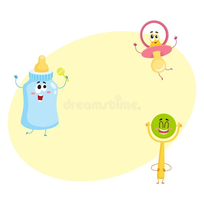 Roligt behandla som ett barn fredsmäklaren, mjölka, buteljera och rossla leksaktecken royaltyfri illustrationer