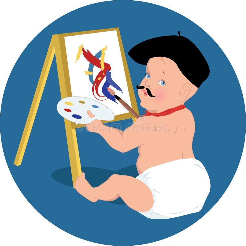 Behandla som ett barn konstnären stock illustrationer