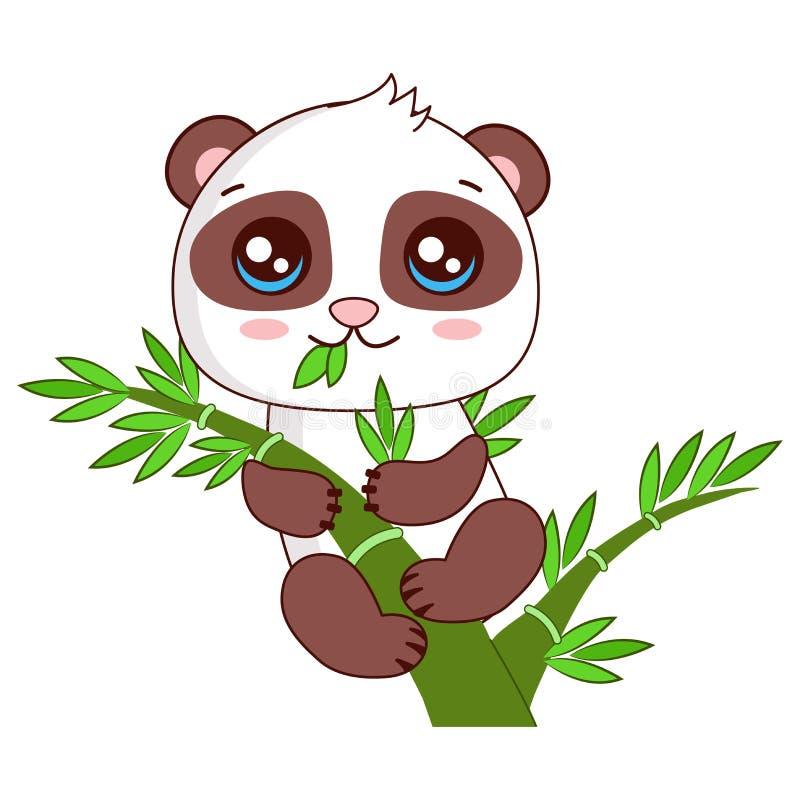 Roligt behandla som ett barn Panda Hanging On The Bamboo den främmande tecknad filmkatten flyr illustrationtakvektorn stock illustrationer