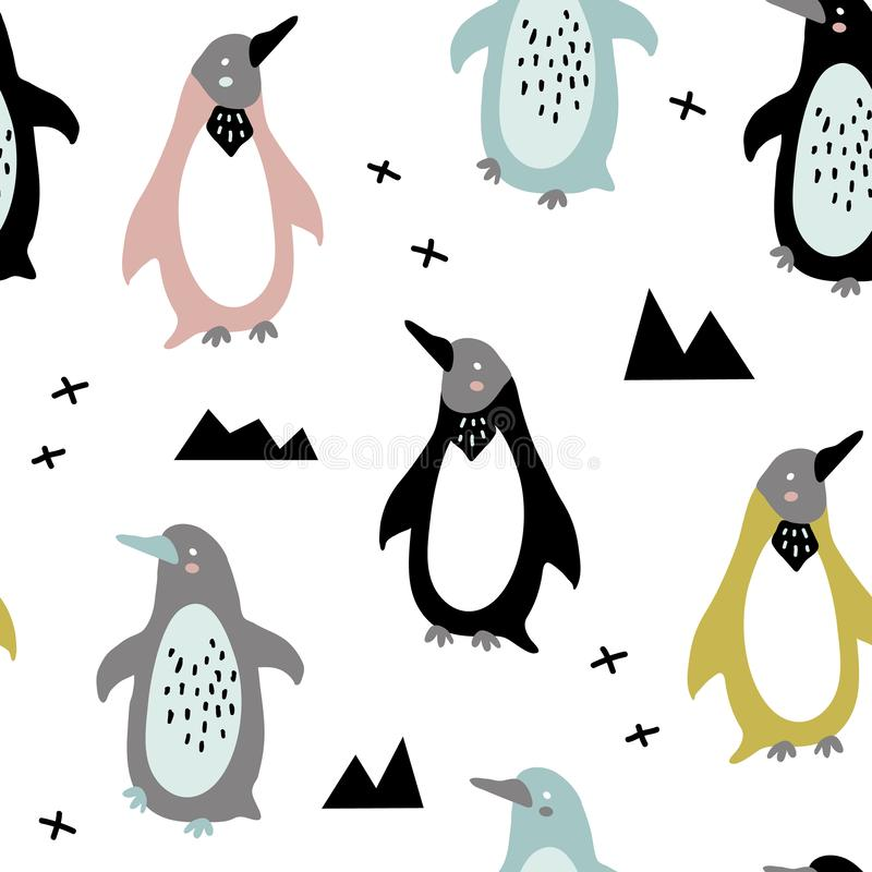Roligt behandla som ett barn pingvin royaltyfri illustrationer