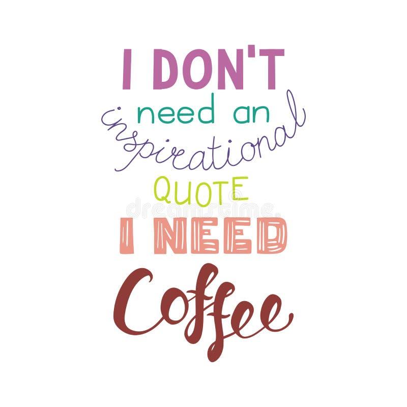 Roligt bokstävercitationstecken om kaffe stock illustrationer