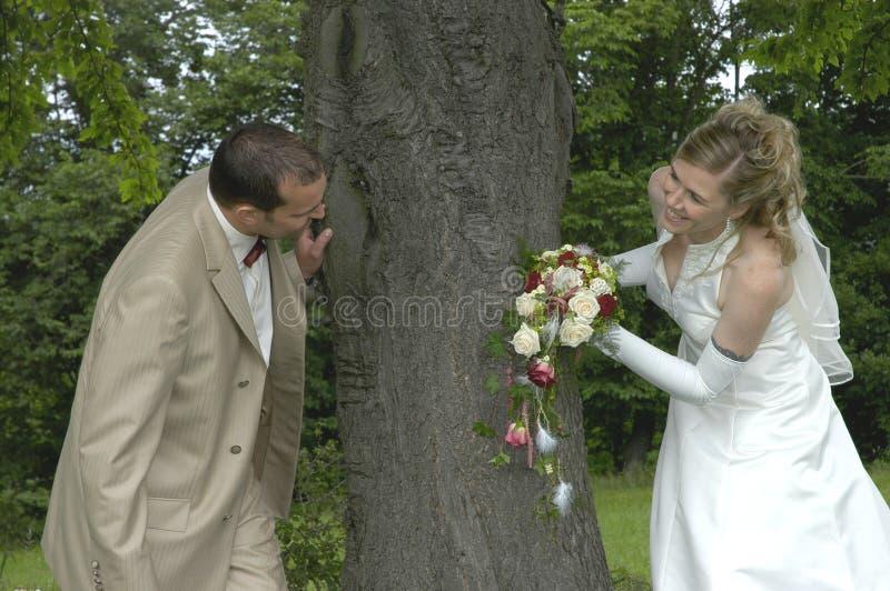 roligt bröllop arkivfoton