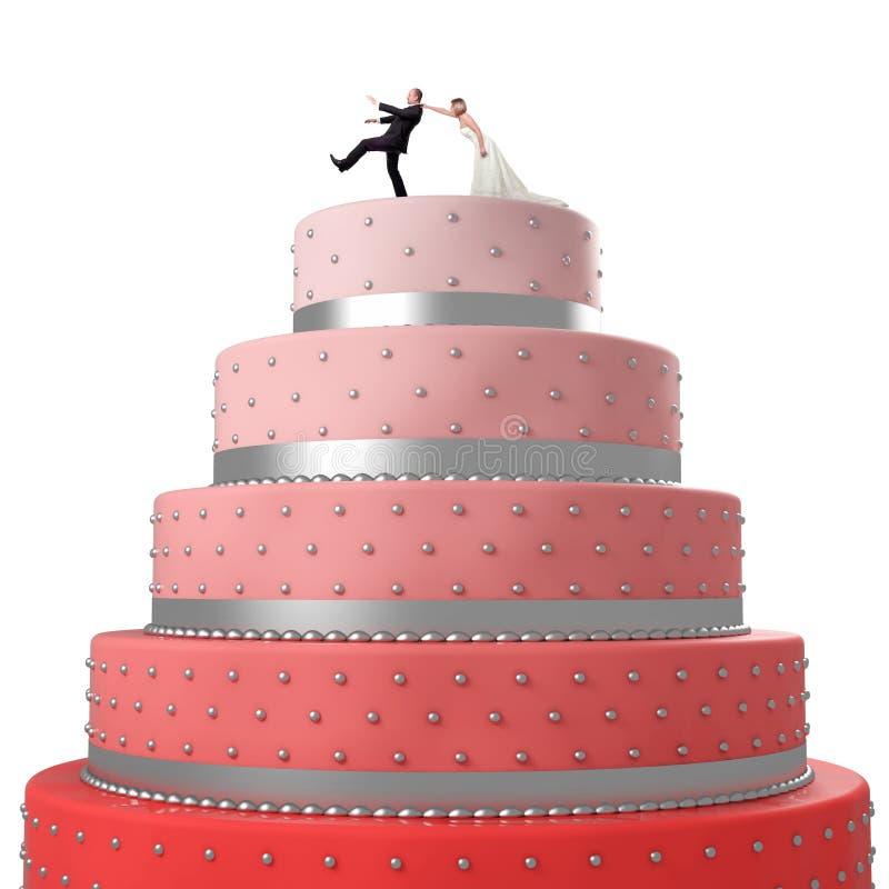 roligt bröllop för cake vektor illustrationer