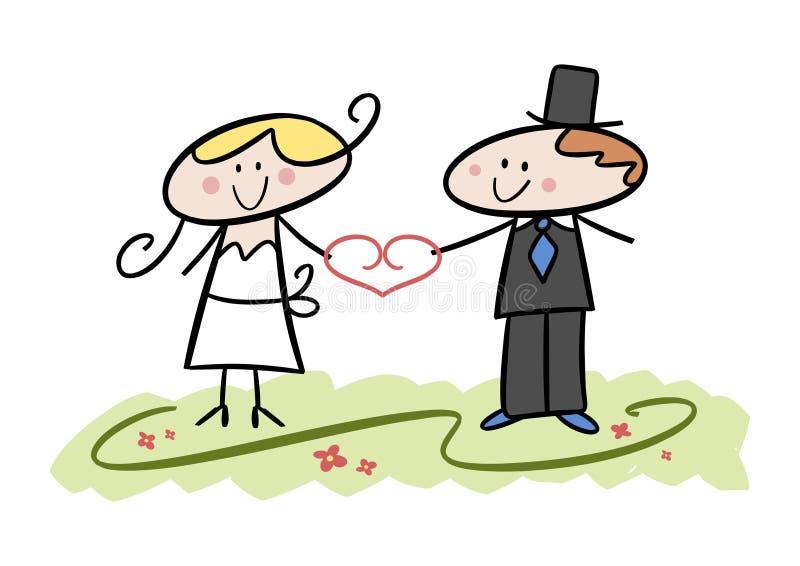 roligt bröllop för par vektor illustrationer