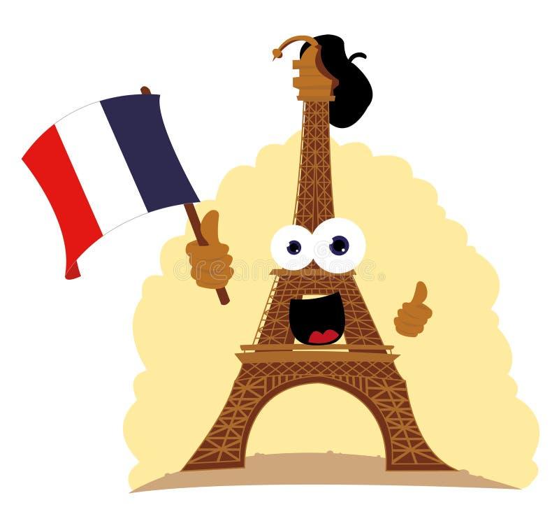 Roligt Eiffel torn vektor illustrationer