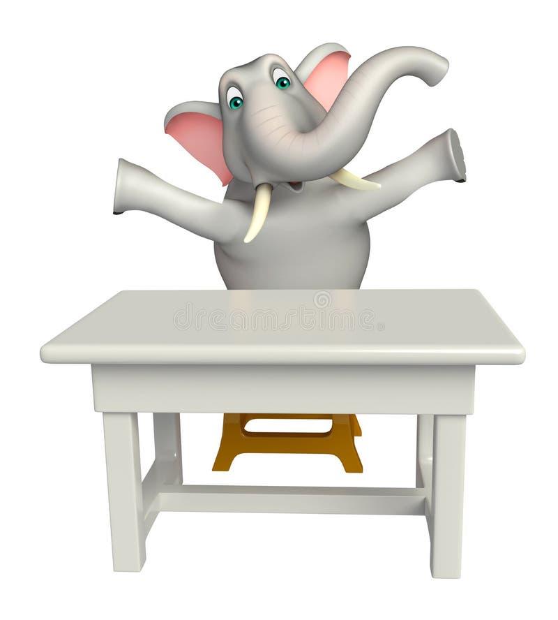 Roligt elefanttecknad filmtecken med tabellen och stol royaltyfri illustrationer
