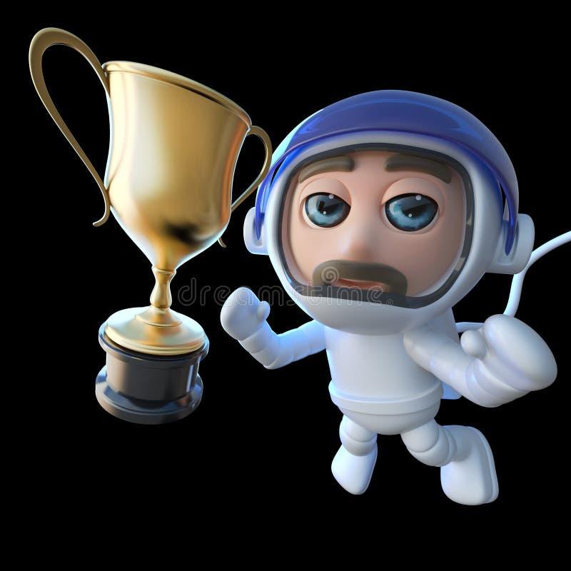 roligt för astronautastronaut för tecknad film som 3d tecken jagar en guld- kopp stock illustrationer