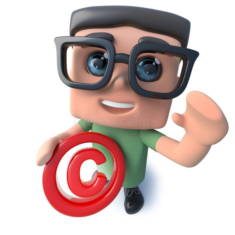roligt för datornerd för tecknad film som 3d tecken rymmer ett copyright-symbol stock illustrationer