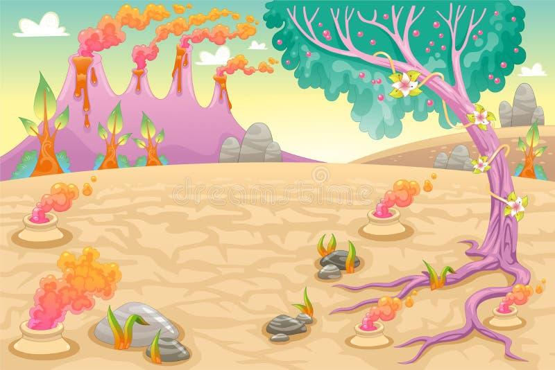 Roligt förhistoriskt landskap vektor illustrationer