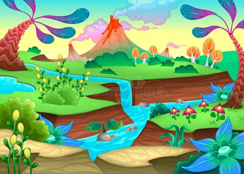 Roligt förhistoriskt landskap med floden och volcanoes royaltyfri illustrationer