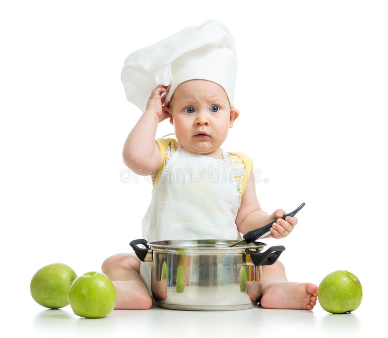 Roligt förtjusande behandla som ett barn med gröna äpplen royaltyfri foto