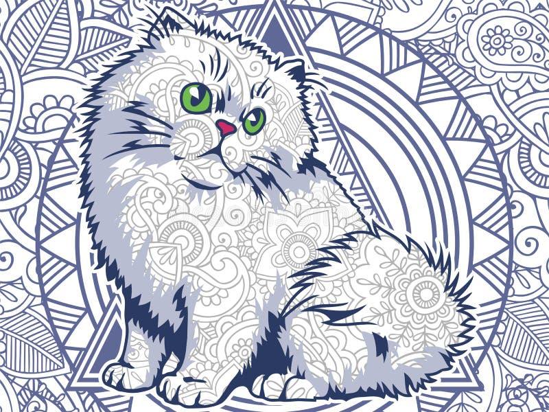 roligt fett kattklotter för vuxen sida för spänningsfrigörarfärgläggning stock illustrationer