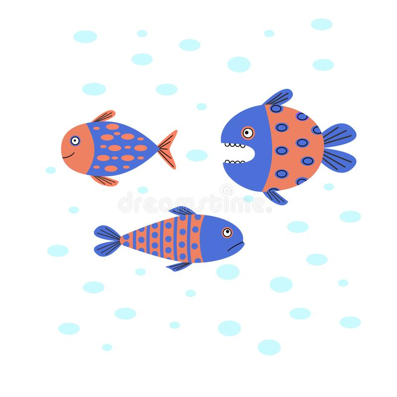 Roligt fiskbad i vattnet En liten fisk för rov- fiskjakt vektor illustrationer