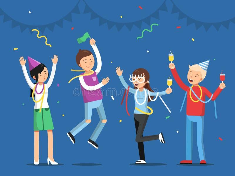 Roligt folk som firar på partiet Maskotdesigner i plan stil royaltyfri illustrationer