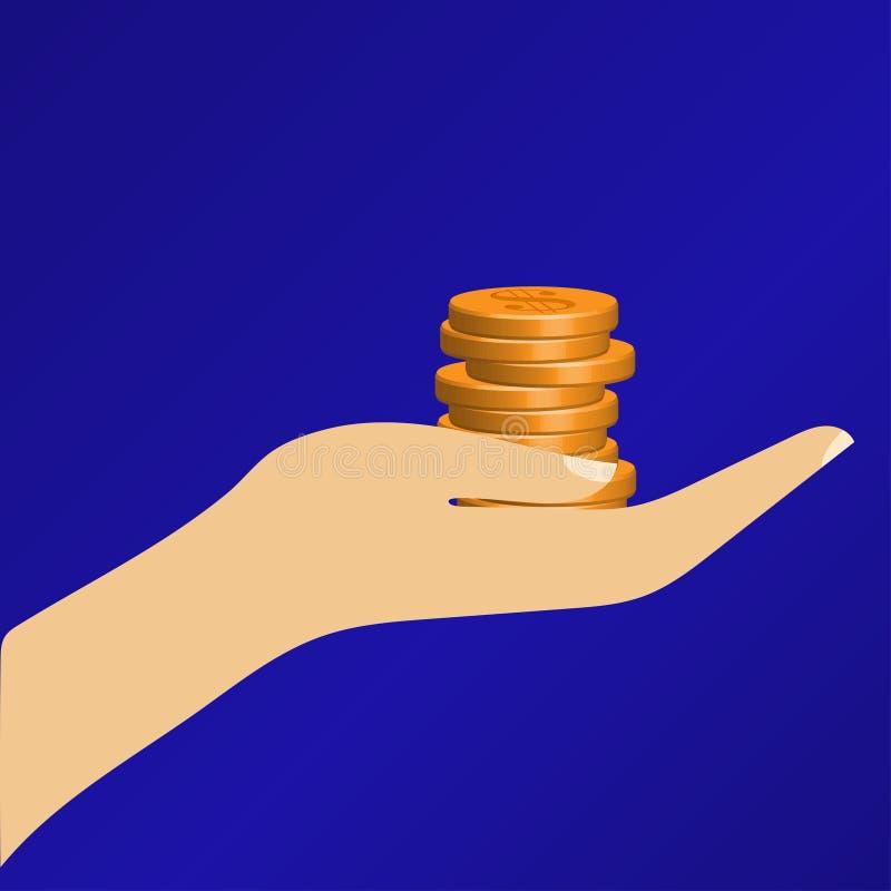 Roligt guld- mynt i hand Design för vektorillustrationlägenhet royaltyfri illustrationer