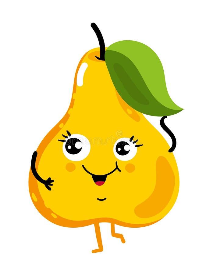 Roligt isolerat tecknad filmtecken för frukt päron vektor illustrationer