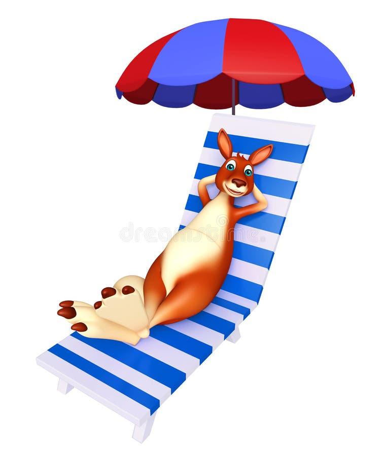 Roligt kängurutecknad filmtecken med strandstol stock illustrationer