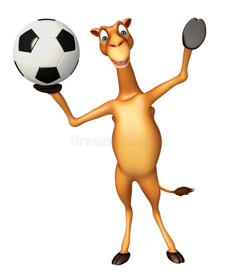 Roligt kameltecknad filmtecken med fotboll royaltyfri illustrationer