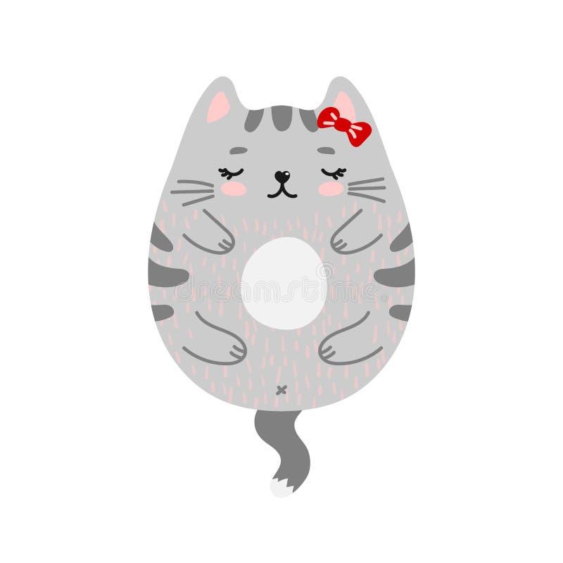 Roligt klotter som ler den röda katten royaltyfri illustrationer